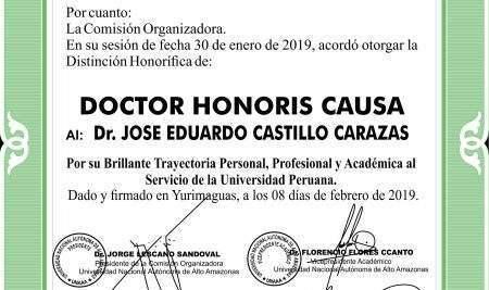 PRESIDENTE EJECUTIVO DE LA UAP RECIBE EL GRADO DOCTOR HONORIS CAUSA DE LA UNAAA